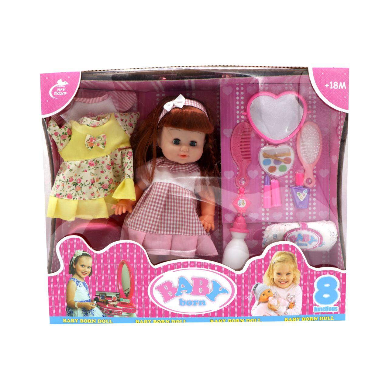 عروسک دختر بیبی بورن همراه با کالسکه مدل 324