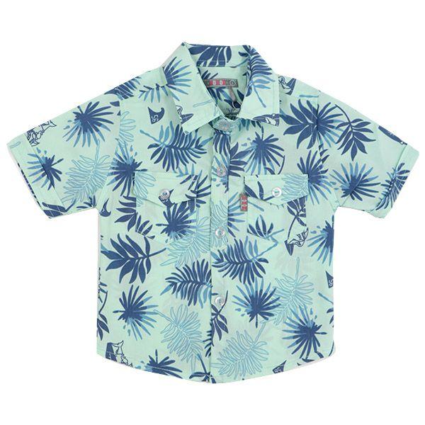 شومیز پسرانه دو جیب HOBON طرح هاوایی رنگ سبز