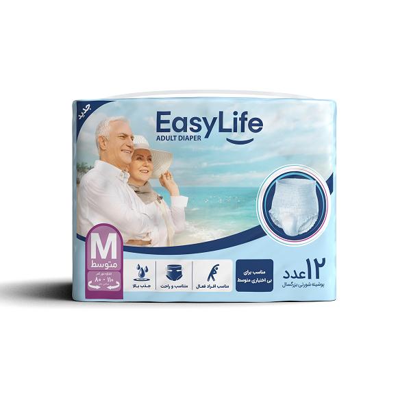 پوشک بزرگسال شورتی ایزی لایف Easy Life سایز M بسته 12 عددی