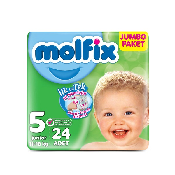 پوشک مولفیکس ترکیه (Molfix) سایز 5 بسته 24 عددی