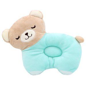 بالش فرم دهی سر نوزاد مدل خرس رنگ فیروزه ای کرم