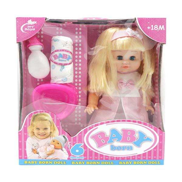 عروسک دختر لباس صورتی بیبی بورن BABY born مدل 677