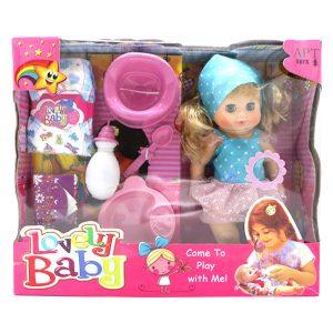 عروسک دختر بیبی لاولی BABY LOVELY مدل 116 آبی