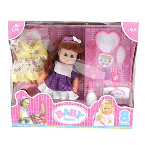 عروسک دختر بیبی بورن BABY born همراه با لباس اضافه مدل 379