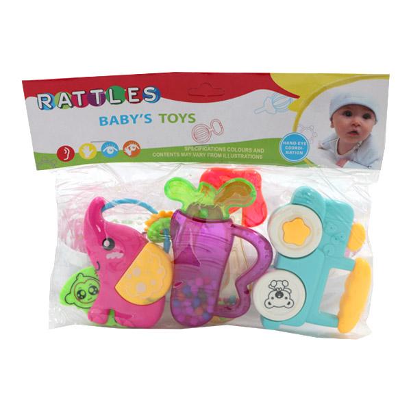 ست جغجغه و دندانگیر دخترانه RATTLES بسته 5 عددی طرح فیل