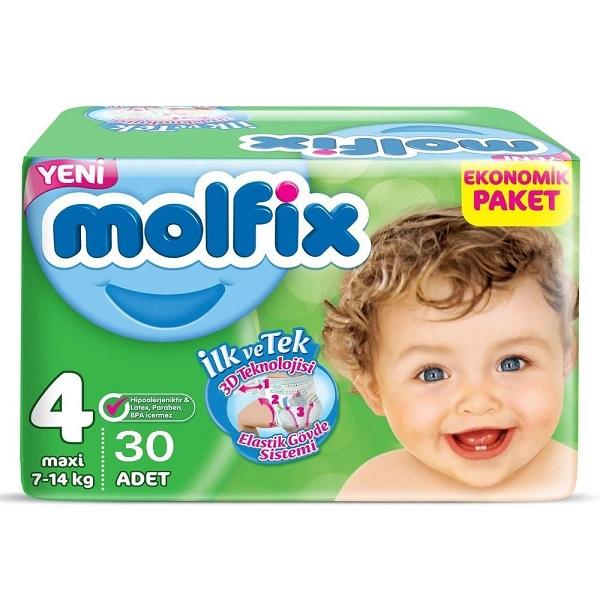 پوشک مولفیکس ترکیه (Molfix) سایز 4 بسته 30 عددی