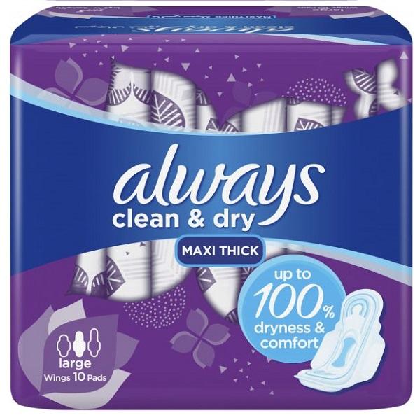 نوار بهداشتی پنبه ای آلویز always مدل Clean & dry بسته 10 عددی