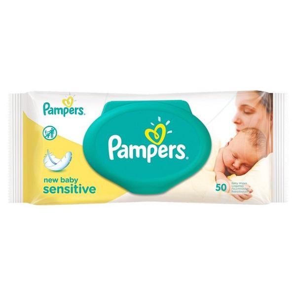 دستمال مرطوب کودک درب دار پمپرز Pampers مدل Sensitive بسته 50 عددی