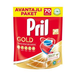 قرص ماشین ظرفشویی پریل (Pril) طلایی بسته 70 عددی