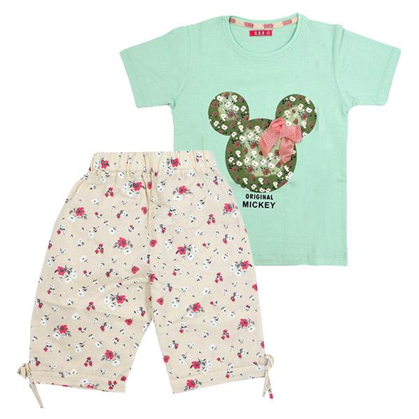 ست تی شرت و شلوارک دخترانه HOBON کد 203 رنگ سبز