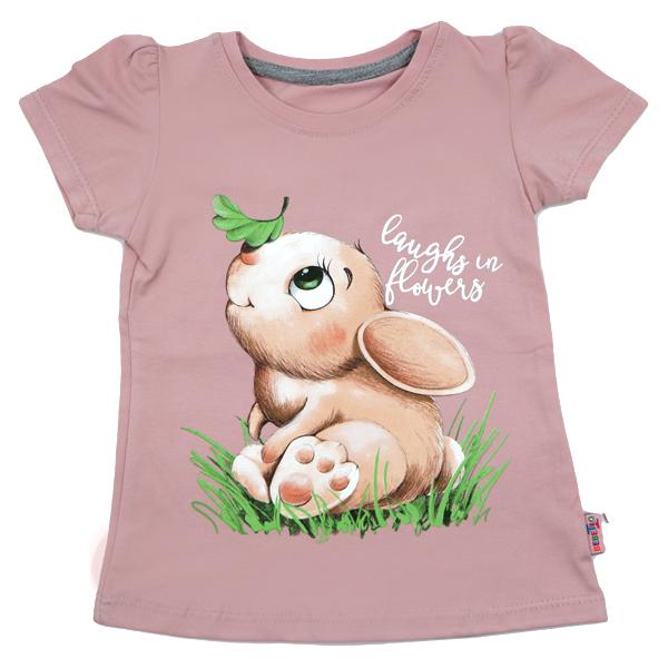 تی شرت دخترانه آستین کوتاه ببتو طرح خرگوش رنگ صورتی