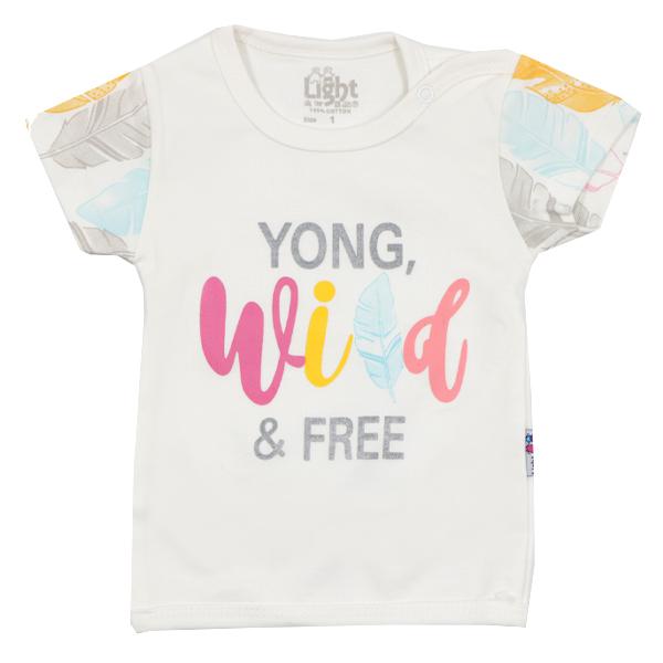 تی شرت دخترانه آستین کوتاه لایت طرح پر