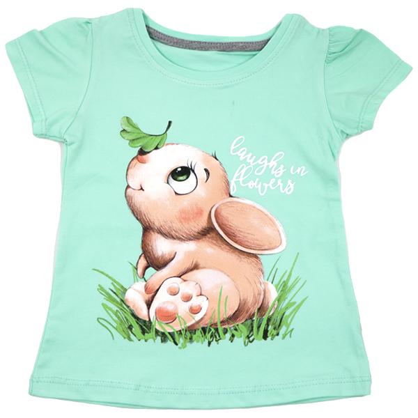 تی شرت دخترانه آستین کوتاه ببتو طرح خرگوش رنگ سبز
