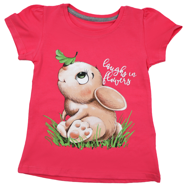 تی شرت دخترانه آستین کوتاه ببتو طرح خرگوش رنگ گلبهی