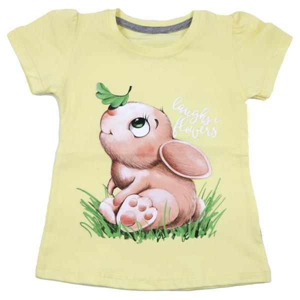 تی شرت دخترانه آستین کوتاه ببتو طرح خرگوش رنگ زرد
