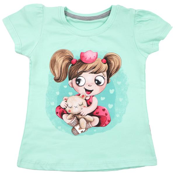 تی شرت دخترانه آستین کوتاه ببتو طرح دختر و خرس رنگ سبز