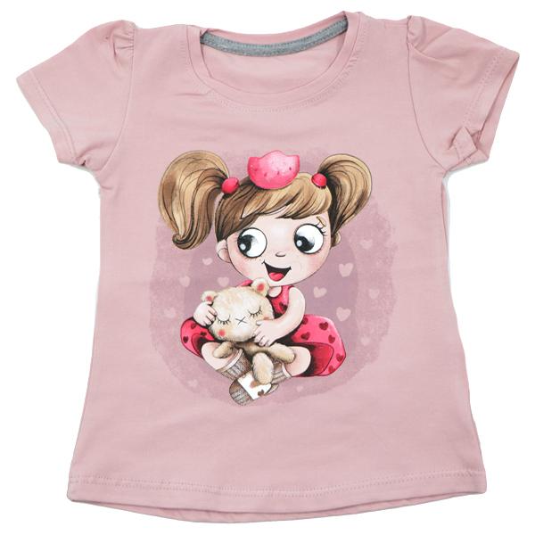 تی شرت دخترانه آستین کوتاه ببتو طرح دختر و خرس رنگ صورتی