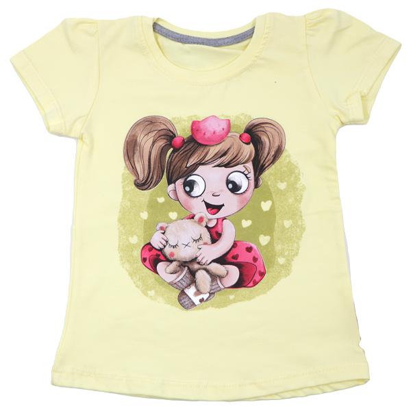 تی شرت دخترانه آستین کوتاه ببتو طرح دختر و خرس رنگ زرد