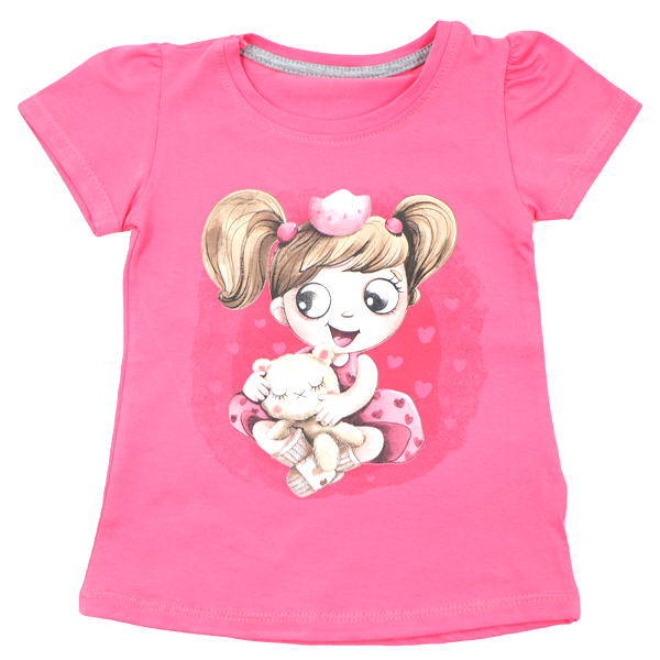 تی شرت دخترانه آستین کوتاه ببتو طرح دختر و خرس رنگ گلبهی