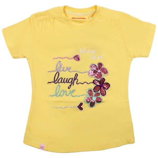 تی شرت دخترانه آستین کوتاه HOBON کد 24 رنگ زرد
