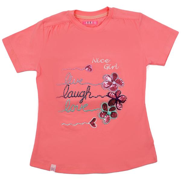 تی شرت دخترانه آستین کوتاه HOBON کد 24 رنگ گلبهی