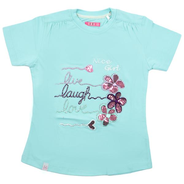 تی شرت دخترانه آستین کوتاه HOBON کد 24 رنگ آبی