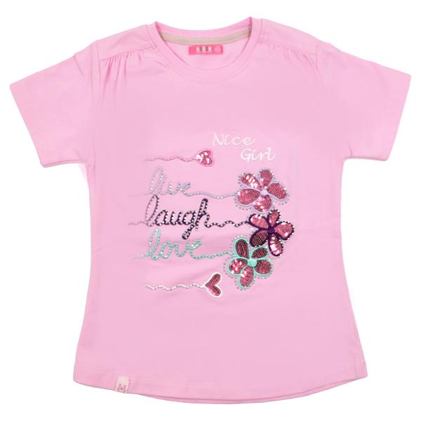 تی شرت دخترانه آستین کوتاه HOBON کد 24 رنگ صورتی
