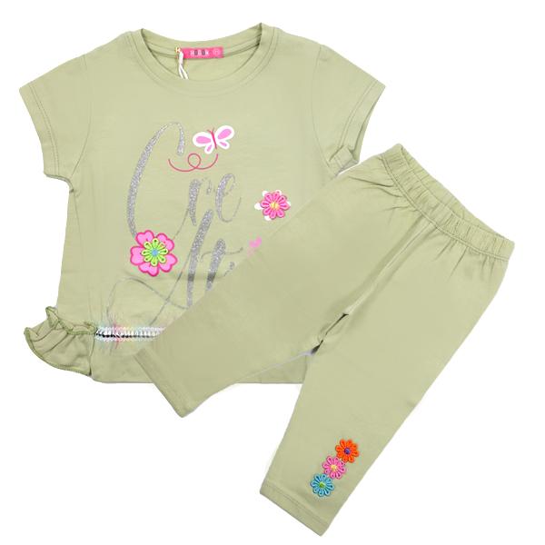 ست تی شرت و شلوارک دخترانه HOBON کد 660 رنگ سبز