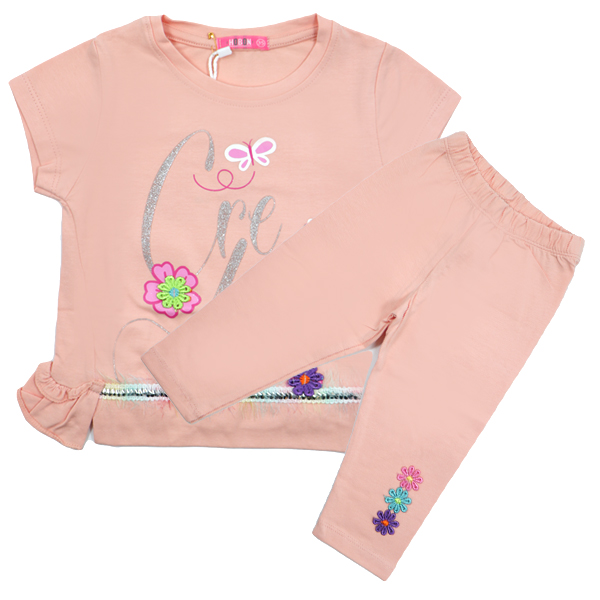 ست تی شرت و شلوارک دخترانه HOBON کد 660 رنگ گلبهی