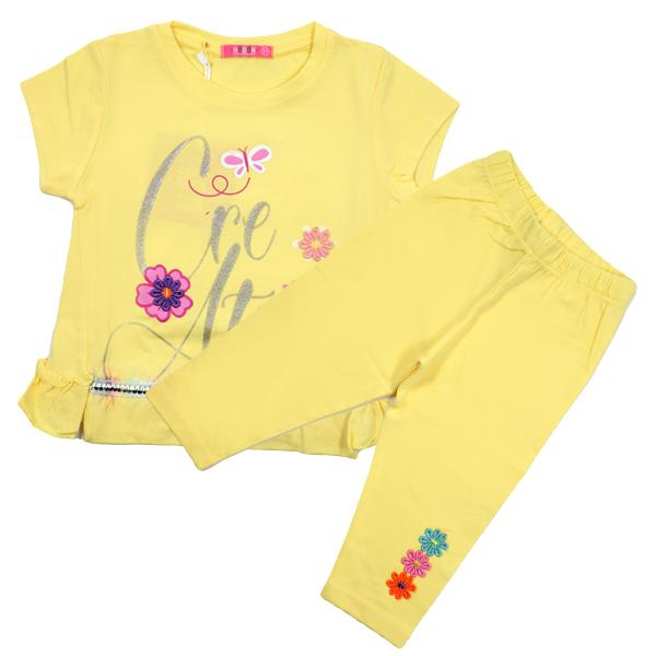 ست تی شرت و شلوارک دخترانه HOBON کد 660 رنگ زرد