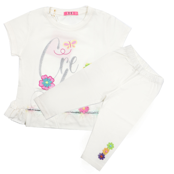 ست تی شرت و شلوارک دخترانه HOBON کد 660 رنگ سفید