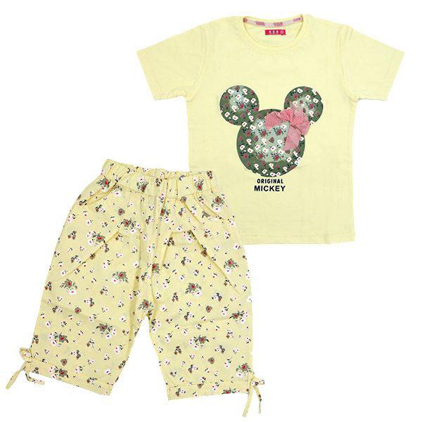 ست تی شرت و شلوارک دخترانه HOBON کد 203 رنگ زرد