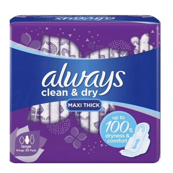 نوار بهداشتی پنبه ای آلویز always مدل Clean & dry بسته 30 عددی