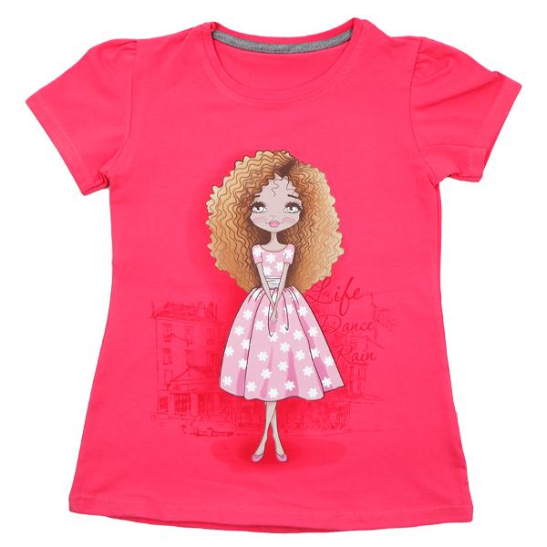 تی شرت دخترانه آستین کوتاه ببتو طرح لیدی دنس رنگ گلبهی