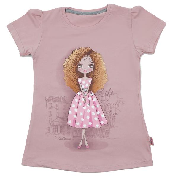 تی شرت دخترانه آستین کوتاه ببتو طرح لیدی دنس رنگ صورتی