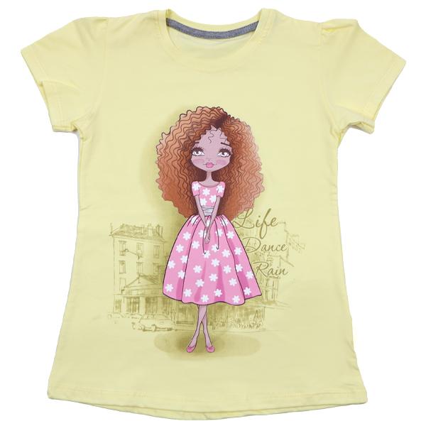 تی شرت دخترانه آستین کوتاه ببتو طرح لیدی دنس رنگ زرد