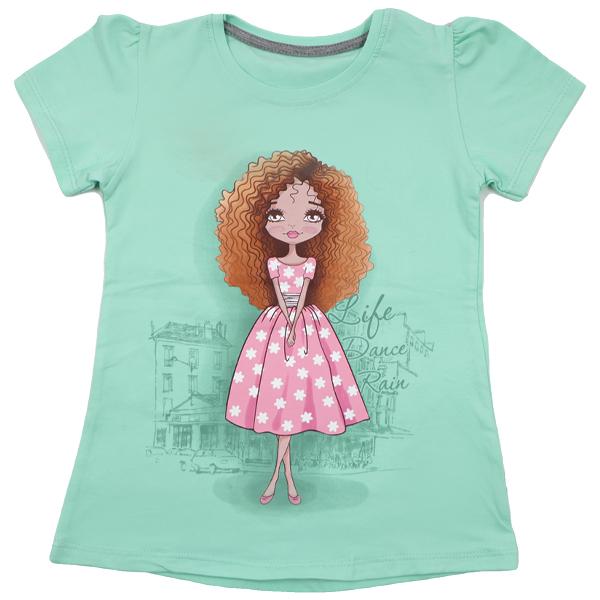 تی شرت دخترانه آستین کوتاه ببتو طرح لیدی دنس رنگ سبز
