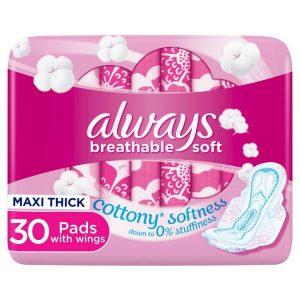 نوار بهداشتی پنبه ای آلویز always مدل breathable soft بسته 30 عددی