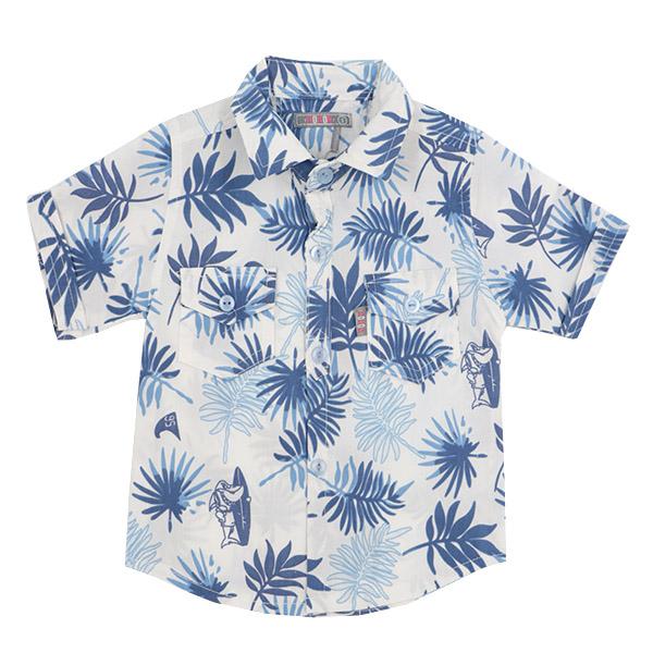 شومیز پسرانه دو جیب HOBON طرح هاوایی رنگ سفید