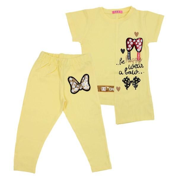 ست تی شرت و شلوار دخترانه HOBON کد 668 رنگ زرد