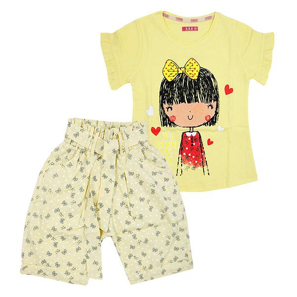 ست تی شرت و شلوارک دخترانه HOBON کد 177 رنگ زرد