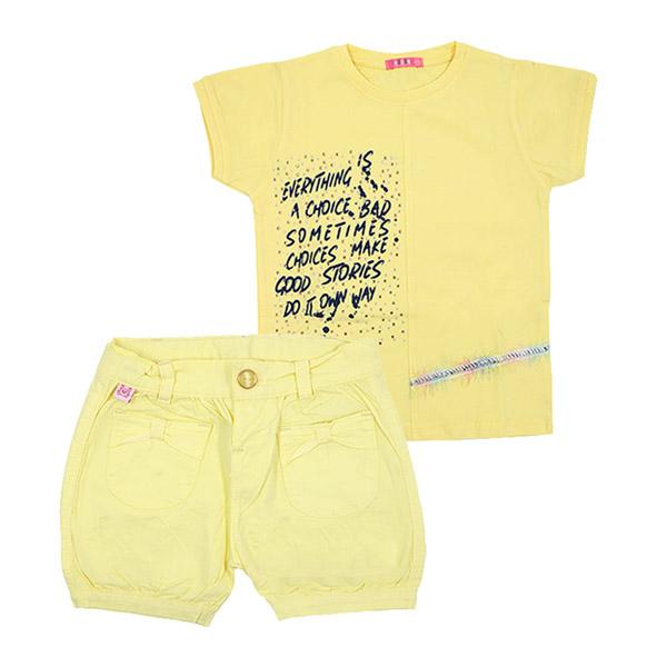 ست تی شرت و شلوارک دخترانه HOBON کد 666 رنگ زرد