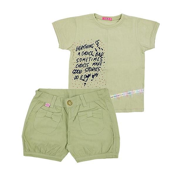 ست تی شرت و شلوارک دخترانه HOBON کد 666 رنگ سبز