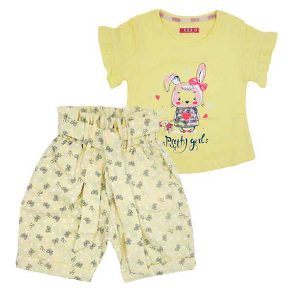 ست تی شرت و شلوارک دخترانه HOBON کد 175 رنگ زرد