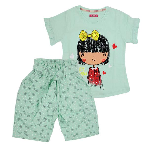 ست تی شرت و شلوارک دخترانه HOBON کد 177 رنگ سبز