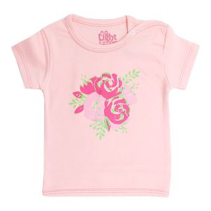 تی شرت دخترانه آستین کوتاه لایت طرح گل رز