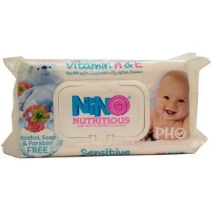 دستمال پاک کننده کودک نینو مناسب پوست های حساس 70 عددی