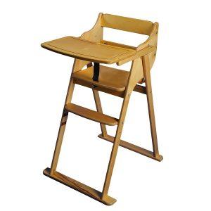 صندلی غذاخوری تاشو کودک هلورک HELOORK رنگ چوب