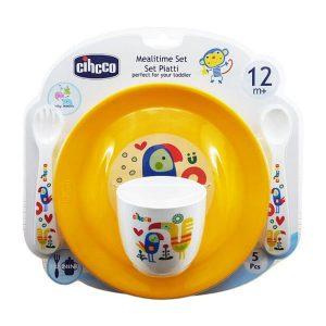 ست 5 تکه ظرف غذای کودک سیکو طرح طوطی رنگ زرد