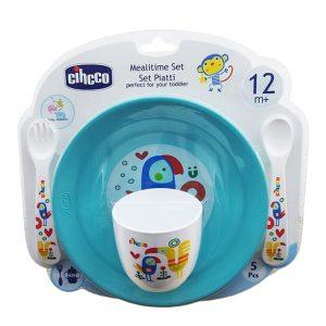 ست 5 تکه ظرف غذای کودک سیکو طرح طوطی رنگ آبی